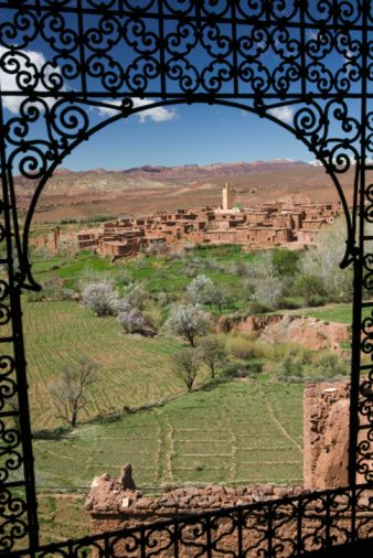 Ruins of the Glaoui Kasbah Village, view from Kasbah window, Tizi-n-tichka, Morocco, Africa
