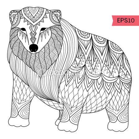 Mano dibujada estilo zentangle de Oso Polar — Vector de stock ...