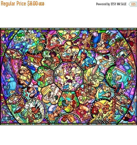 Disney stained glass Cross Stitch Disney stained glass Pattern needlepoint, needlecraft - 35.43 x 25.11 - L610 #stitchdisney