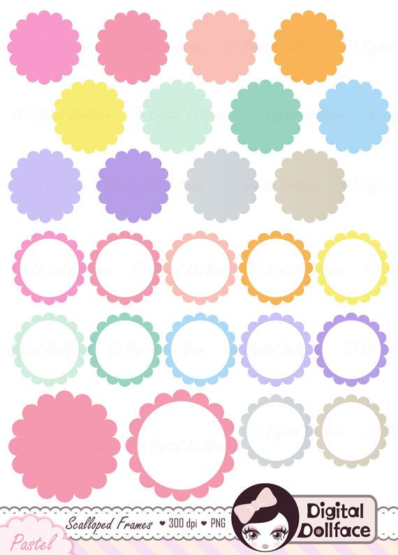 circle frame clipart pastel scalloped tags digital clip art frame rh pinterest com Artist Clip Art Pastel Butterfly