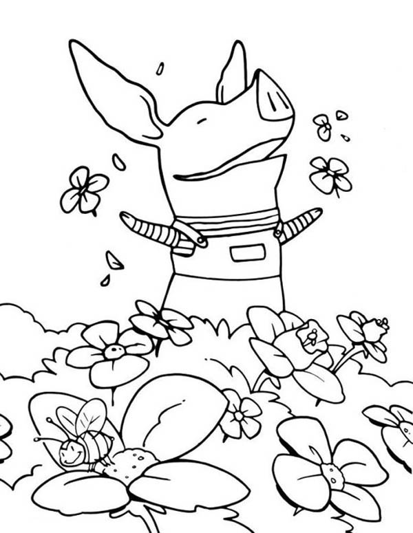 Olivia The Pig At The Flower Garden Coloring Page Netart Coloring Pages Cool Coloring Pages Garden Coloring Pages