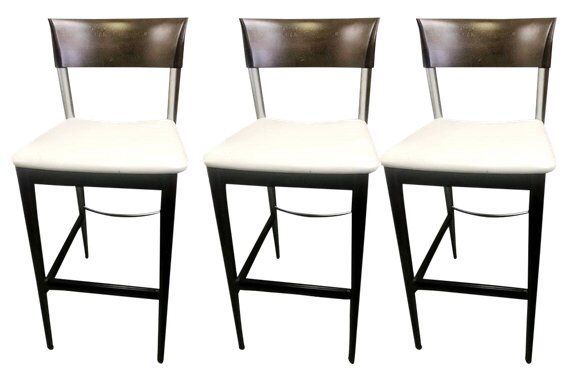 Contemporary Roche Bobois Neutral Leather Bar Stools Set Of 3 With Images Bar Stools Leather Bar Stools Versatile Chairs