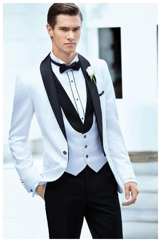 Custom Design One Button White Groom Tuxedos Groomsmen Mens ...