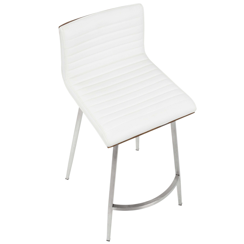 Contemporary White Swivel Counter Height Stool Set Of 2 Mason