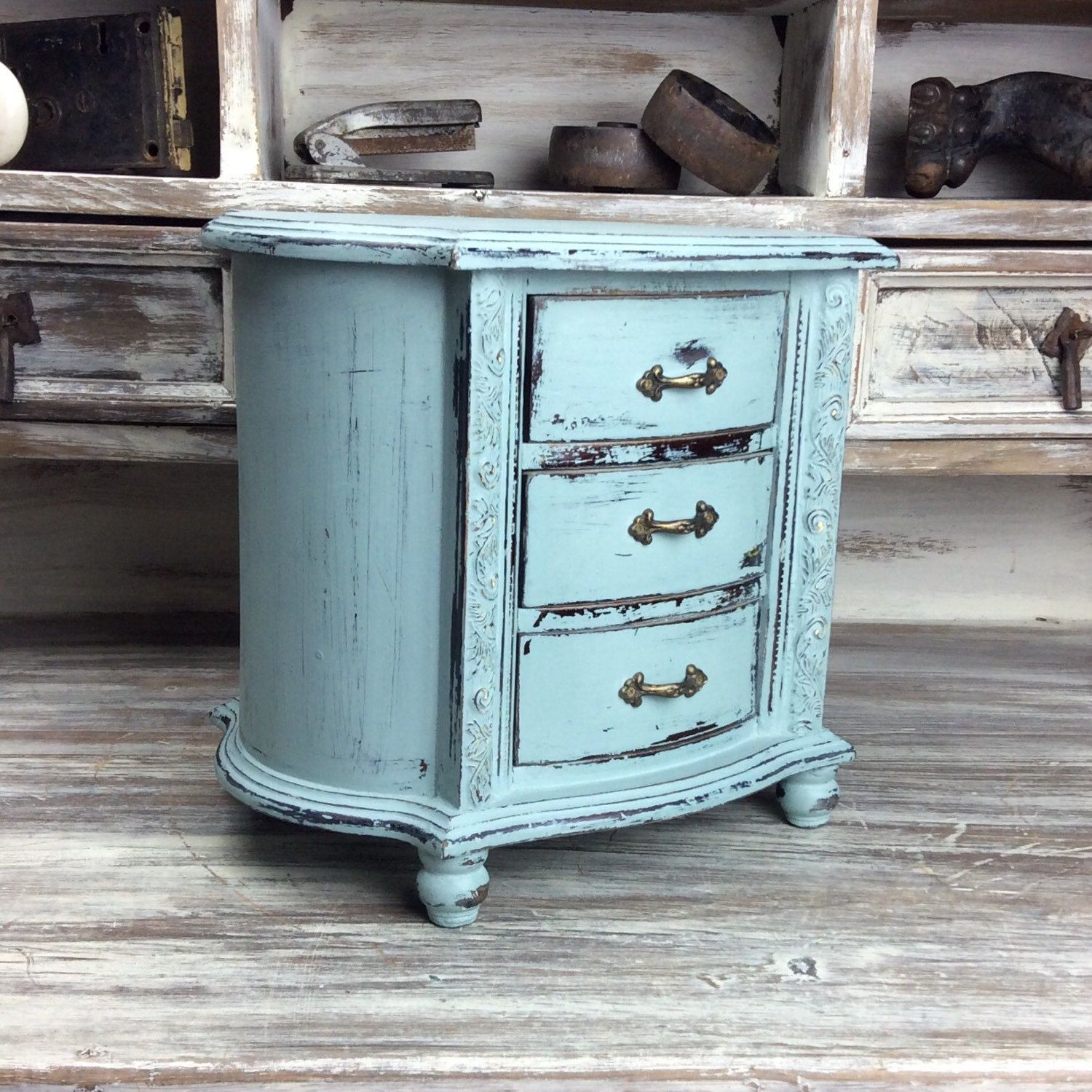 BEAUTIFUL JEWELRY CHEST For Sale Blue Jewelry Box Rustic Jewelry