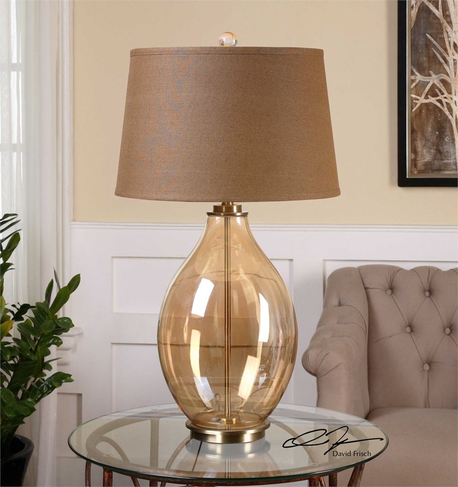 Uttermost Bartolomeo Amber Glass Table Lamp