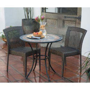 Outdoor Patio All Weather Wicker Chairs Mosaic Dining Table Bistro Set Deck