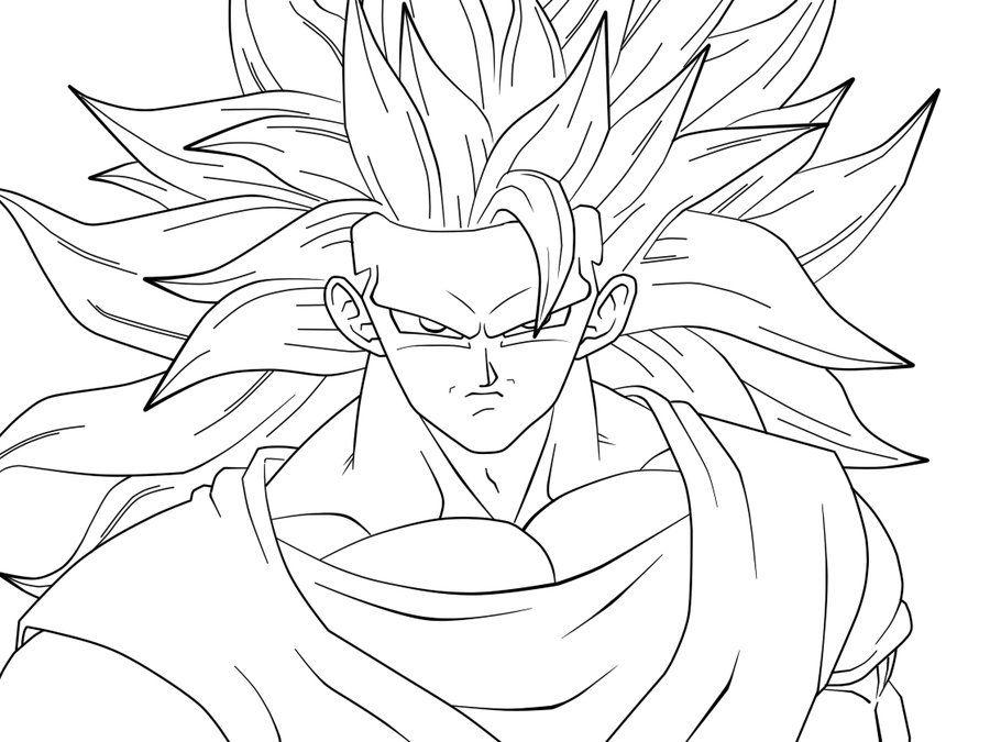 SJJ3 Goku Closeup: lineart by carapau | Goku | Pinterest | Goku ...