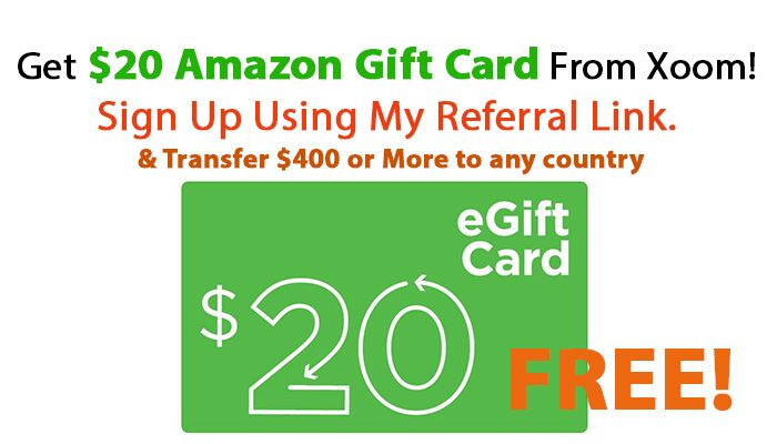 Xoom Referral Friend  Sign up link for free $20 Amazon