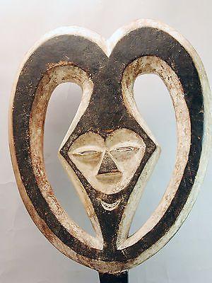 CLASSIC KWELE MASK GABON AFRICAN WHITE TRIBAL ANCESTAL CIRCULAR HORN ART ETHNIX