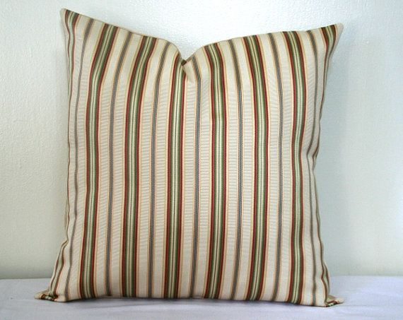 Beige Rust And Green Striped 18 Inch Pillow Cover Accent Pillow Throw Pillow Cushion Cover 18 Inch Pillow Cover Cushion Pillow Covers Green Stripes
