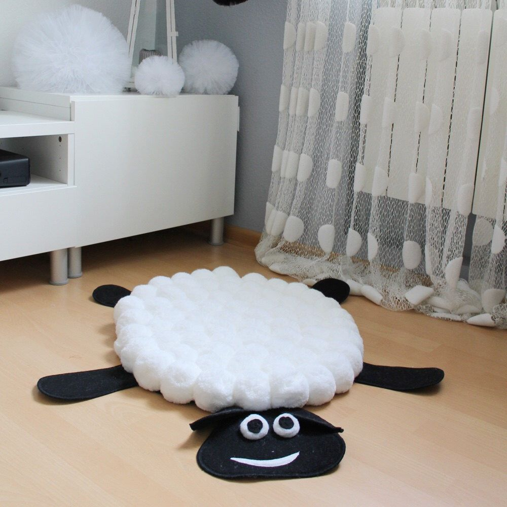 White Nursery Rug Pom Sheep Area Decor Soft Floor Kids Thick Carpet Play Mat Pompom By Pomponmylove