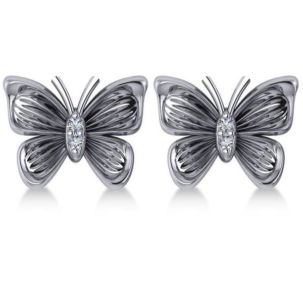 Allurez Diamond Butterfly Stud Earrings 14k White Gold 0 02ct