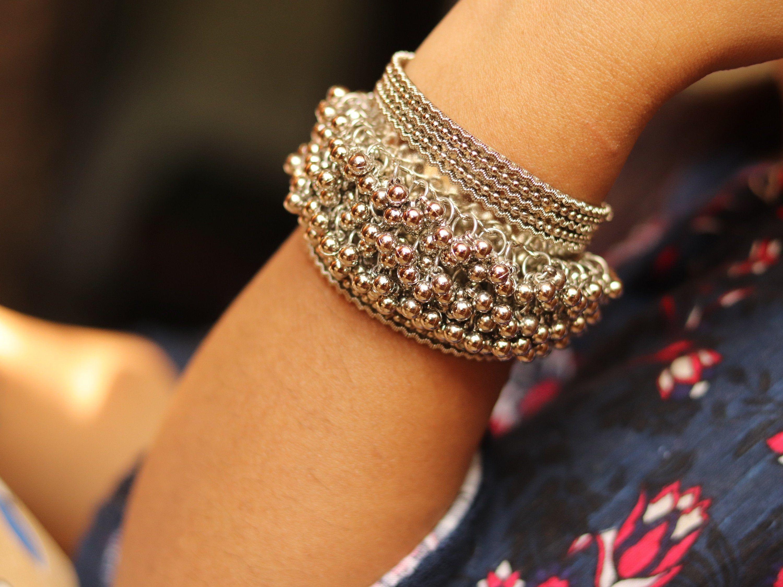 Indian Jewelry Silver Jewelry Oxidized Jewelry Handmade Jewelry Bracelet Jewelry