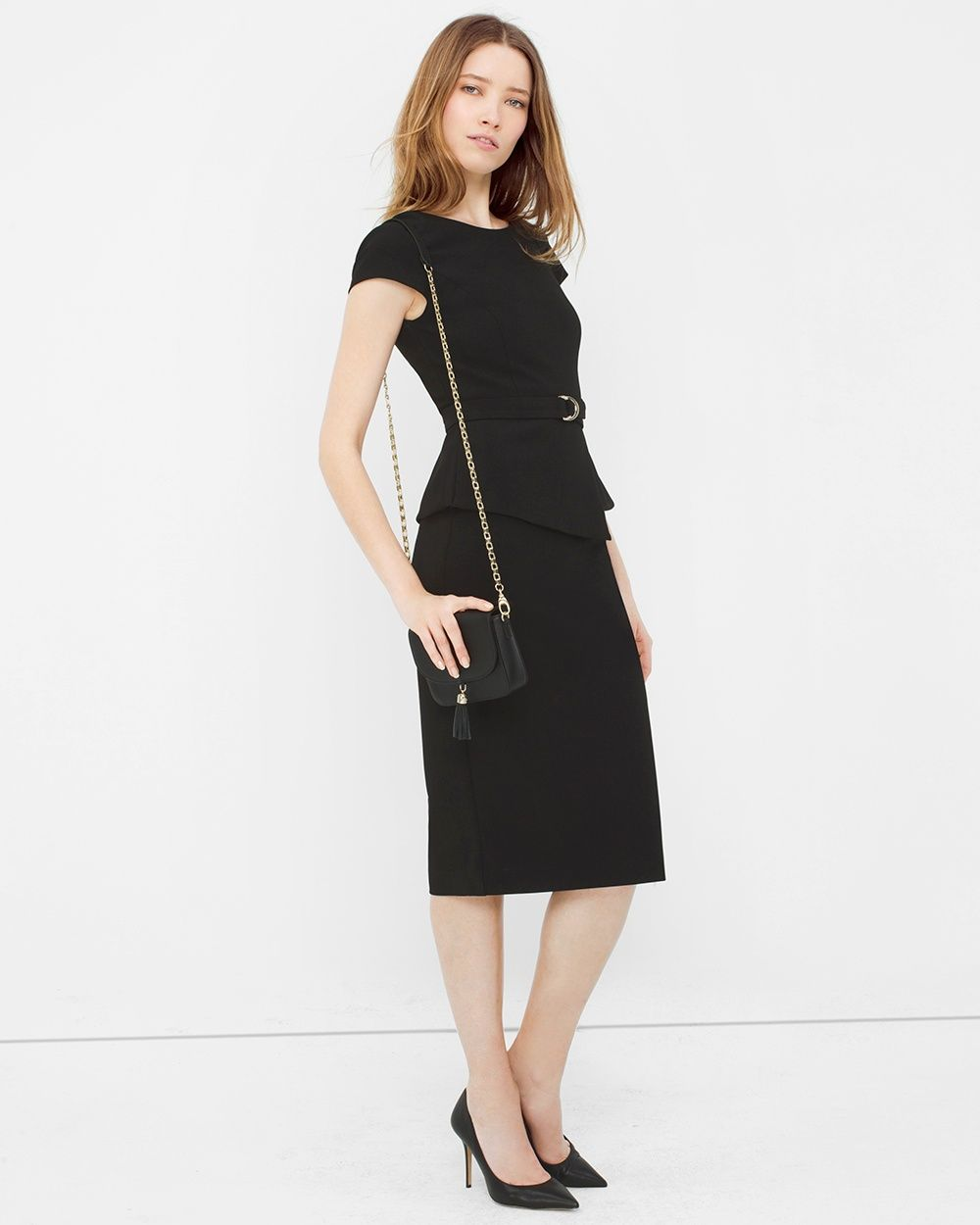 """The angular peplum delivers instant coolness to this jet-black design. A touch of stretch and a classic back vent ensure ease of movement. To switch things up a bit, we suggest wearing this sheath dress with a bright clutch or pop-color shoes. Cap-sleeve peplum sheath dress Back zip  Lined Polyester/rayon/spandex. Machine wash, cold.   Approx. 43"""" from shoulder   Imported"""