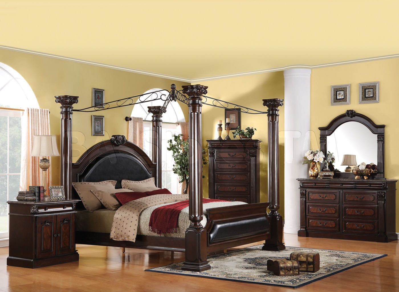Good 5 Pc Roman Empire Collection Dark Cherry Finish Wood Queen 4 Poster Bedroom  Set With Metal Canopy. This Set Includes The Queen Bed Set, One Nightstand,  ...