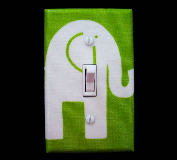 Green Elephant Light Switch Plate Cover / by cathyscraftycovers, $12.00