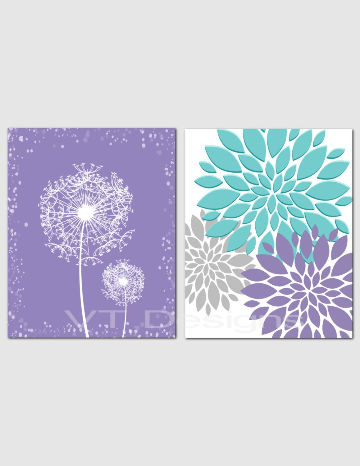 Dandelion Wall Art Purple Teal Gray Printable Home Decor Floral Art Peonies Bathroom Decor Bedroom Teal Wall Decor Dandelion Wall Art Bedroom Wall Art