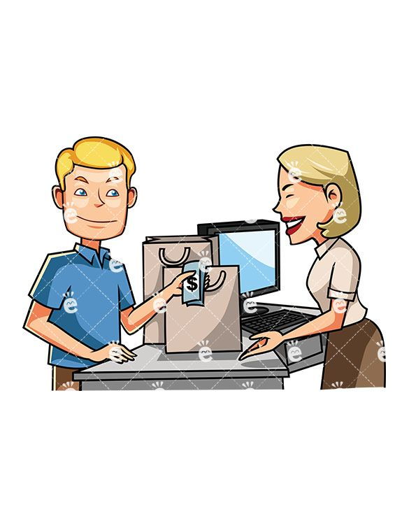 Cashier Cartoons: A Man At The Counter Paying With Cash