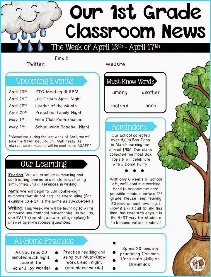 Parent Communication 1st Grade School Newsletter Template