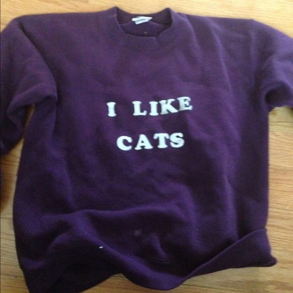 "Graphic Sweatshirt Purple sweatshirt that reads ""I Like Cats"" in silver sparkle letters, size L Tops Sweatshirts & Hoodies"