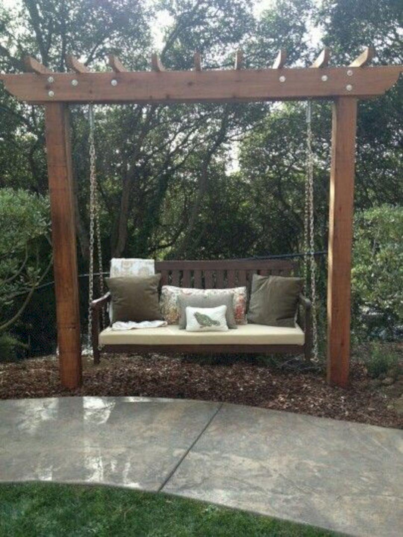 24 Trick To Make Your Small Backyard Look More Beautiful Garden Swing Seat Backyard Landscaping Designs Backyard Swings