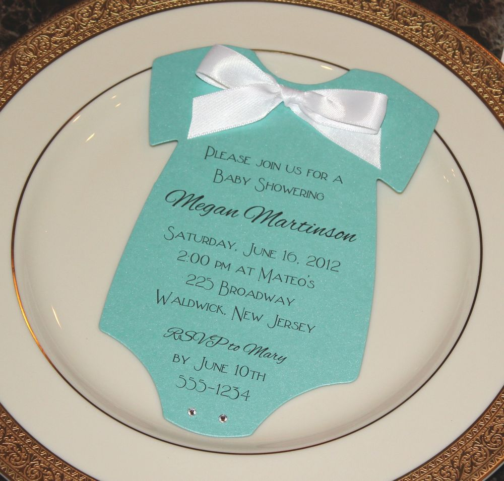 Baby Shower Invitation Onesie Tiffany Blue and Other Colors ...