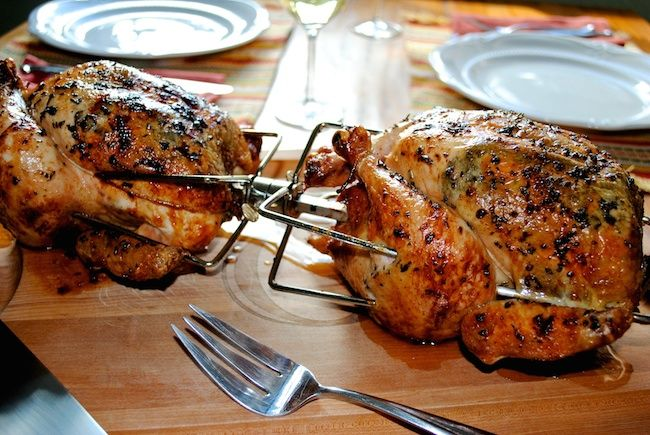 Rotisserie Herb Chickens fresh off the grill
