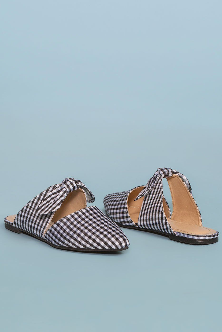 9d7caa31c5f4 Fiona Bow Pointy Black and White Toe Mules - Gingham