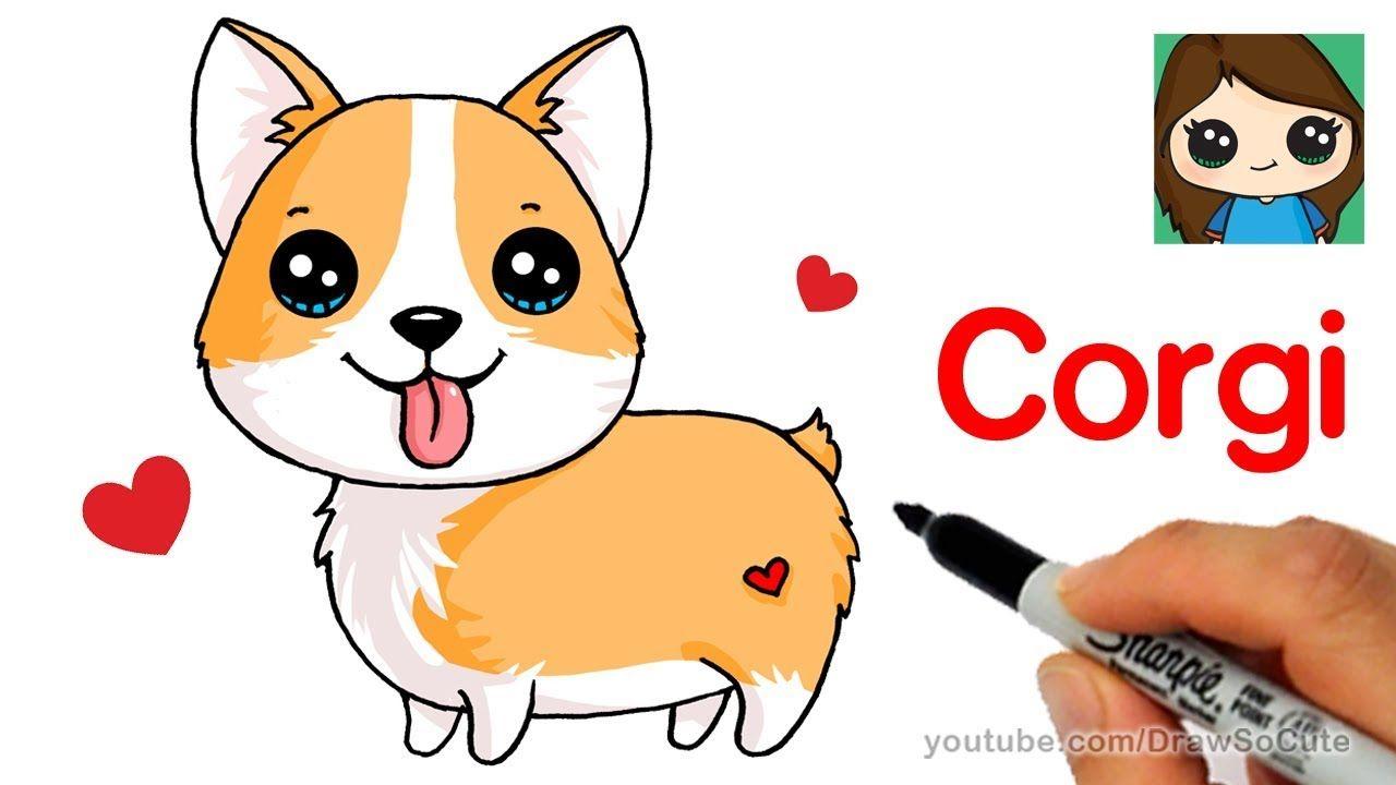 How To Draw A Corgi Easy Cartoon Dog Cute Dog Drawing Cartoon Dog Drawing Cartoon Dog