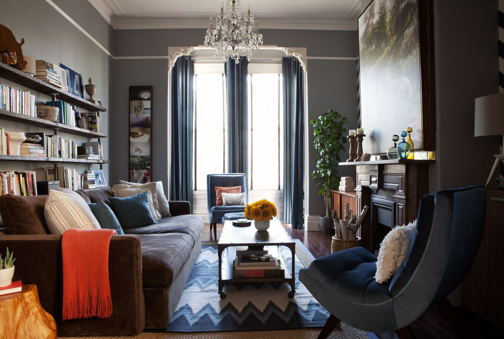 Masculine Living Room In A Victorian Row House Narrow Living Room Living Room Dining Room Combo Long Narrow Living Room