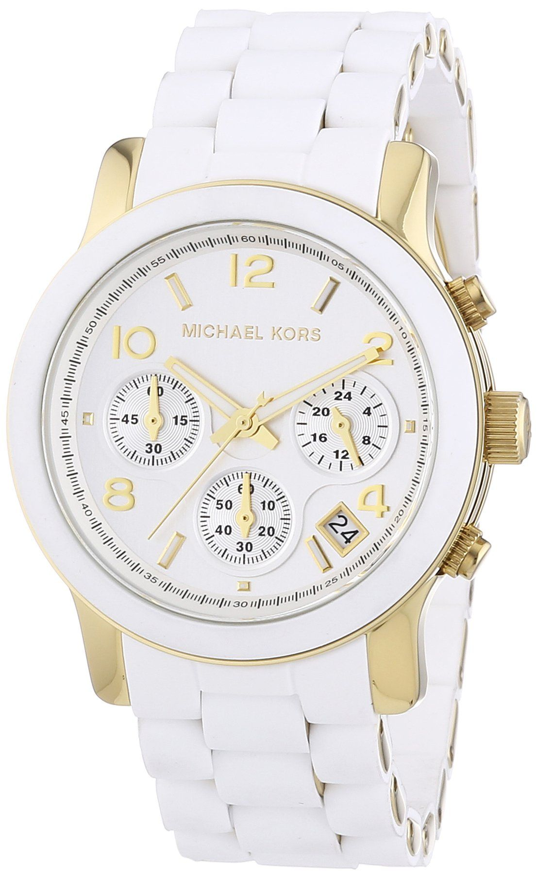 161 Michael Kors Mk5145 Women S Two Tone Stainless Steel Quartz Chronograph White Dial Watch Michael Kors Michael Kors Watch White Dial Watch
