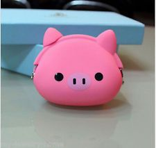 Fashion Pig Cartoon Animal Silicone Coin Purse Wallets Rubber Cosmetic Bag