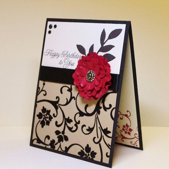 Classic Handmade Birthday Card Distressed Flower Red And Black Luxurious Handmade Birthday Cards Birthday Card Sayings Birthday Cards