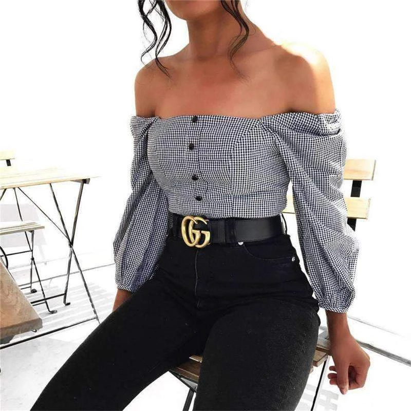 Gingham Off-shoulder Lantern Sleeve Crop Top