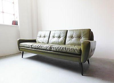 #1960s Danish Green #leather Sofa By Skipper Furniture Vintage #retro  Mid Century