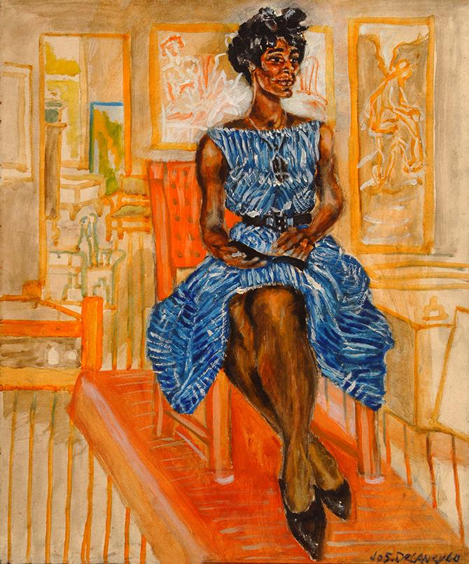 Woman in Striped Dress ~ Artist: Joseph Delaney (1964) ~ Oil on board