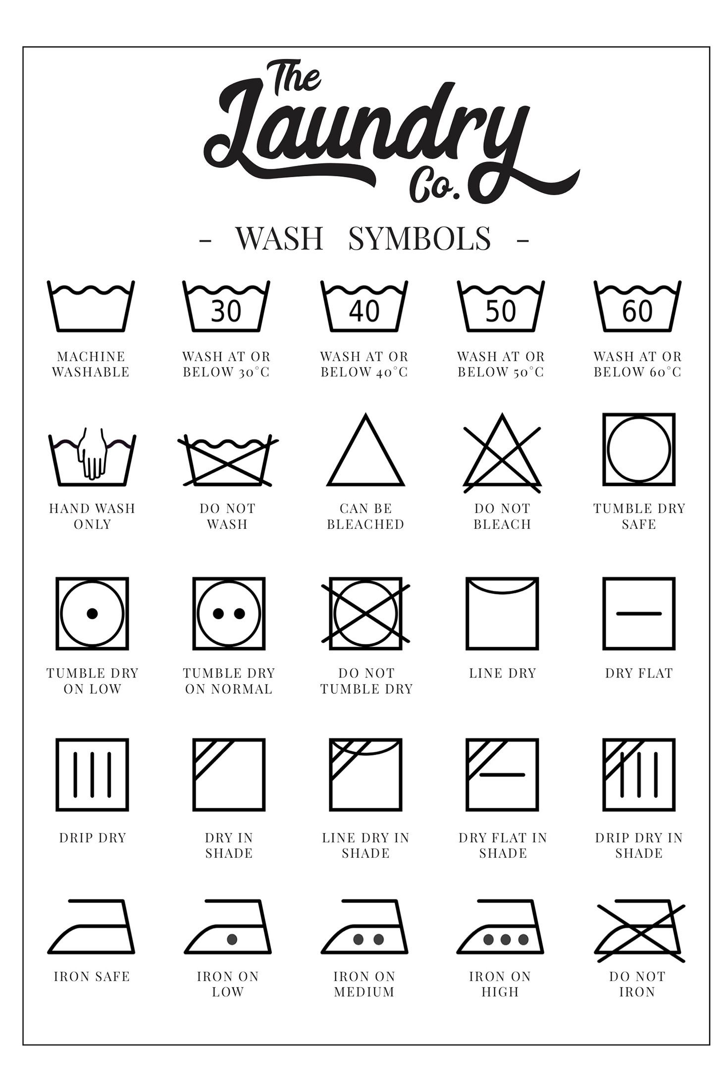 Free Printable Laundry Symbols Wall Art With Images