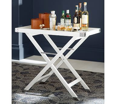 Devon Bar Tray Table Sky White Stainless Steel