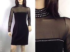 Vtg 90s Lillie Rubin Tadashi Sheer Bandage Bodycon Black Grunge Goth Dress M