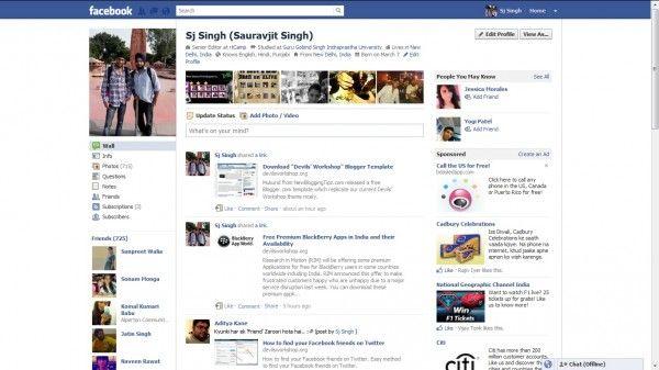 #Facebook: profilo 2011