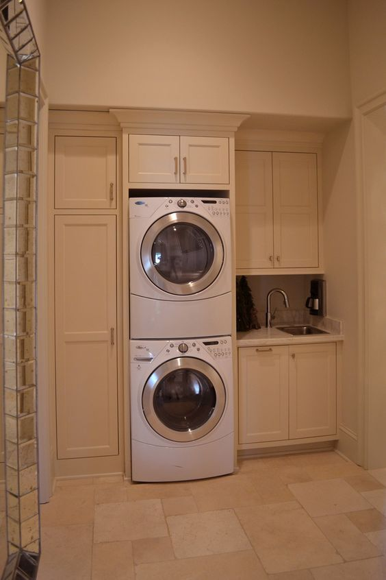 Beautiful Laundry Room Ideas Stacked Washer Dryer With Stackable Washer And Dryer Decorating Ide Stacked Laundry Room Elegant Laundry Room Vintage Laundry Room