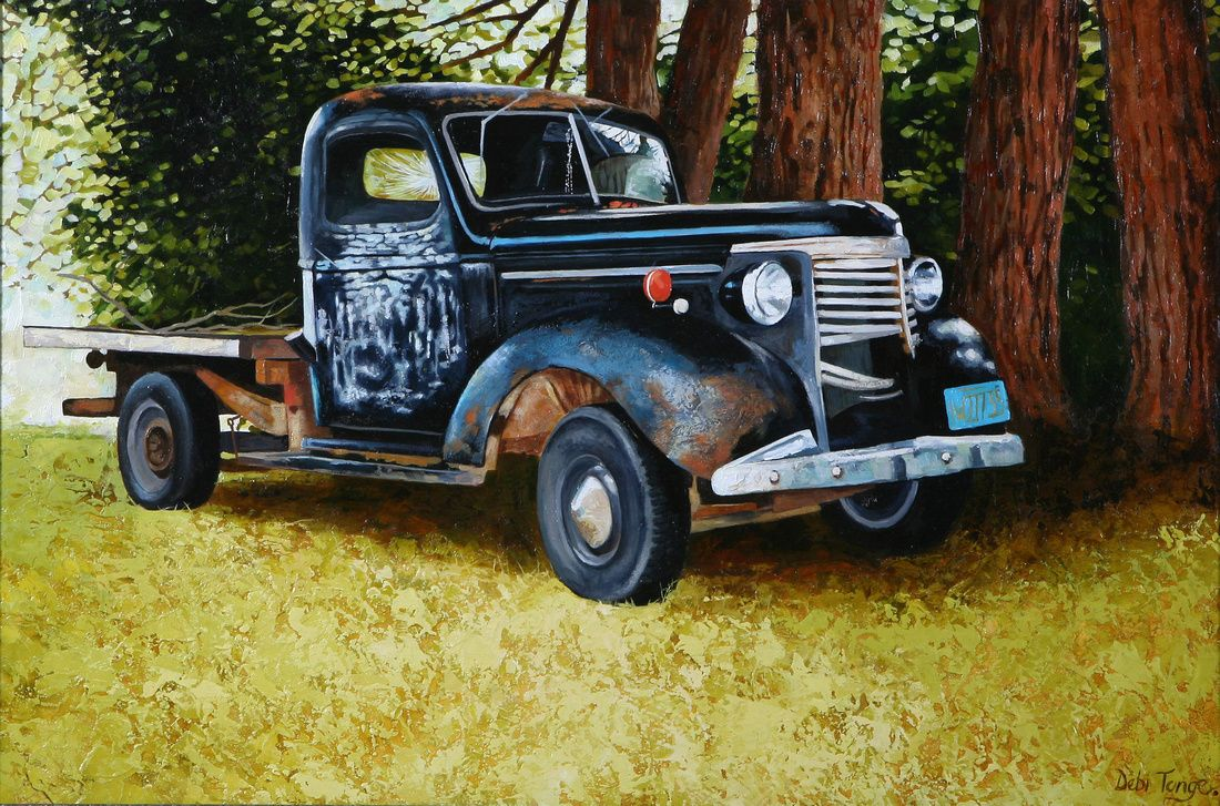 Redwoods- Vintage Car Art, classic Old Motors painted in oils ...