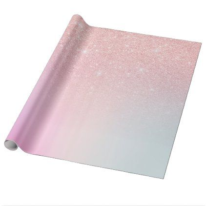 Elegant modern girly ombre pink rose gold glitter wrapping paper | Zazzle.com