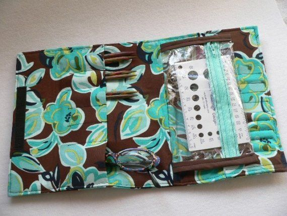 Circular And Interchangeable Knitting Needle Case Chocolate And Aqua