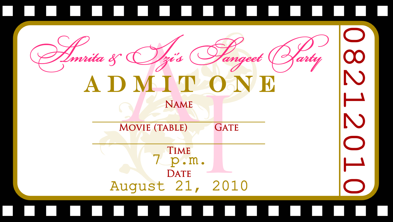 Movie Ticket Wedding Reception
