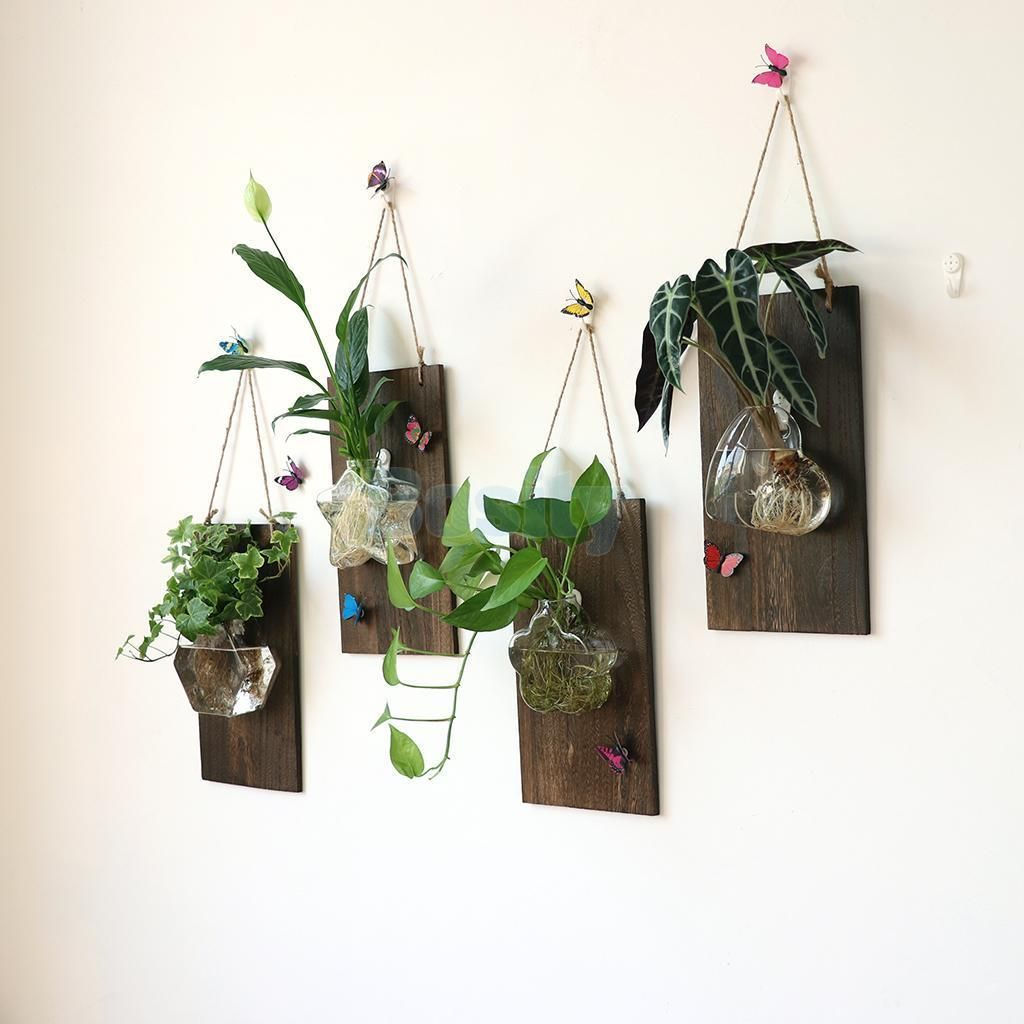4pcs Wall Art Wooden Plaque Hanging Glass Flower Vase Jar Plant Container Glass Flower Vases Flower Wall Decor Plants In Jars