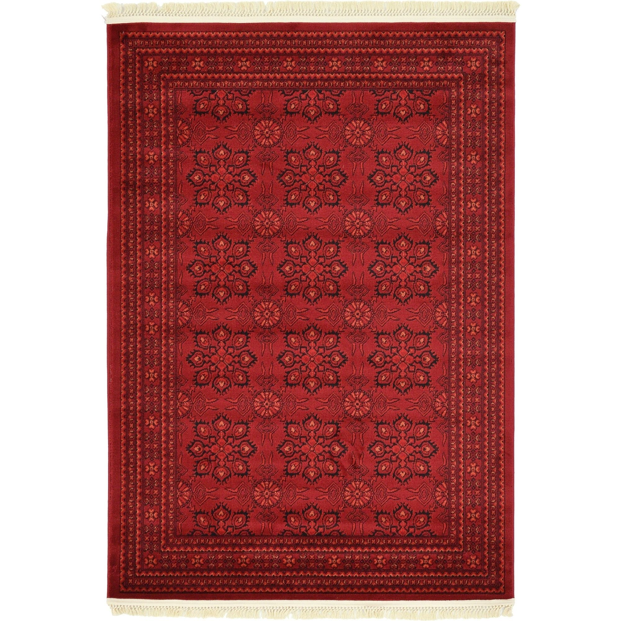 Unique Loom Bokhara Red Rug