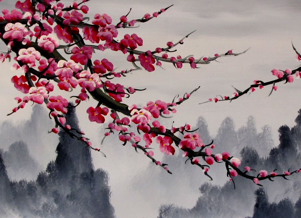 Chinese Feng Shui Painting Chinese Cherry Blossom Painting Cherry Blossom Art Cherry Blossom Painting Japanese Painting
