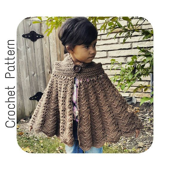 Easy Crochet Pattern Hooded Cape Child Size Cloak Pattern Red